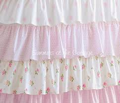 Ruffled Pink Curtains Shabby Cottage Colors Chic Petticoat Ruffle Shower Curtain