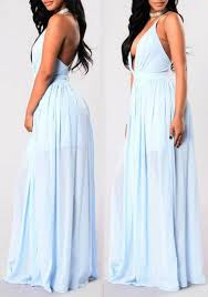 light blue plain pleated plunging neckline party polyester maxi
