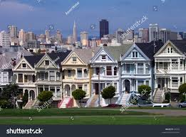 postcard row houses san francisco california stock photo 41033