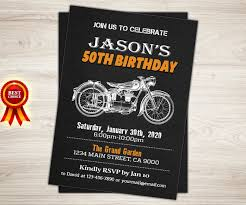 motorcycle birthday invitation chalkboard cafe racer motorbike
