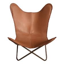ashton light tan leather butterfly chair industrial chic style