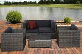 Patio Furniture Frisco by Metz 5 Pc Grey Wicker Seating Set With Grey Cushions Outdoor