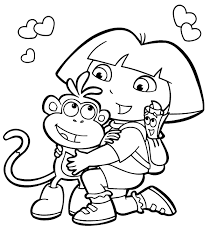 printable dora the explorer coloring pages eson me