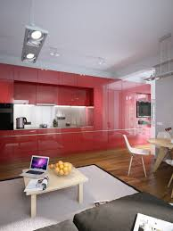 Kitchen Cabinet Design For Apartment by Modern Apartment Design With Beautiful Red Kitchen Set Roohome