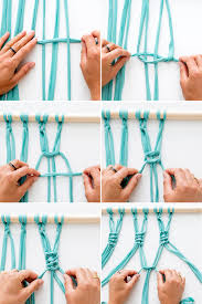 use 4 strips of fabric to tie each knot on your wall hanging to