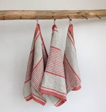 rustic linen tea towels set three french country ticking