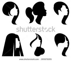 black silhouette woman with hairstyles vectors download free