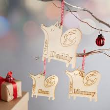 ornaments we are sc wooden fox personalised
