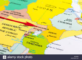 Africa On The Map by Red Arrow Pointing Uganda On The Map Of Africa Continent Stock