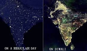 image of diwali image of indian map taken from nasa satellite is the