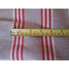 Natural Linen Curtain Fabric Designer Natural Red Ticking Stripe 100 Heavy Linen 60