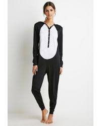 pj jumpsuit lyst forever 21 panda graphic pj jumpsuit in black