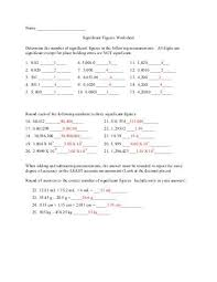 Calculations Significant Figures Worksheet Answers Worksheet 1 Calculations Significant Figures The Number Of