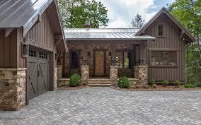 cedar porch posts exterior farmhouse with black entry door black