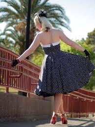 1950s swing dresses 50s style black and white polka dot halter