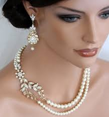bridal accessories wedding bridal accessories pearl necklace and pearl earring set