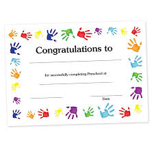 preschool certificates certificate handprints make a treasured keepsake with this