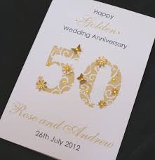 Jewellery Invitation Card Large Handmade Personalised 50th Golden Wedding Anniversary Card