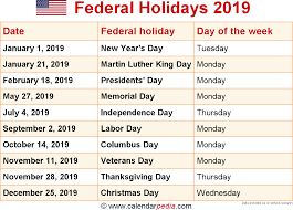 2016 thanksgiving date federal holidays 2019