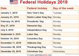 holidays 2019