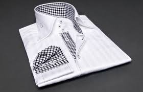 white striped shirt houndstooth patterns lining urban collar