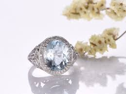 aquamarine wedding rings myray aquamarine engagement ring 5ct oval cut 14k gold