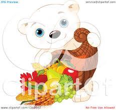thanksgiving cornacopia clipart of a cartoon cute polar bear cub carrying a thanksgiving