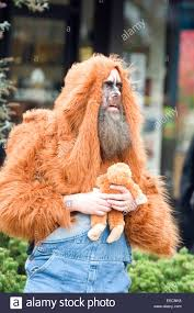 bearded man in halloween costume in ashland oregon usa stock photo