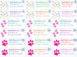 paw prints personalized return address labels custom stickers