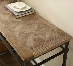 parquet reclaimed wood console table pottery barn