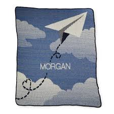 personalized paper airplane throw recycled cotton blanket baby