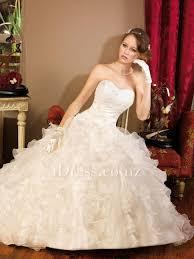low waist wedding dress fit and flare ruffled skirt strapless drop waist