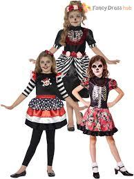 age 4 12 girls skeleton sugar skull halloween fancy dress kids