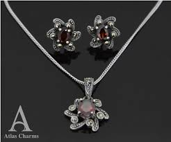 silver earrings necklace images Flower sets marcasite red garnet sterling silver earrings pendant jpg