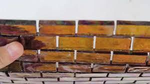 Brown Glass Tile Backsplash by Iridescent Pool Glass Tile Amber 1x2 120keluja21216 Youtube