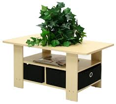 Coffee Table With Drawers by Eco Friendly Coffee Table In Beech With Black Bin Storage Drawers
