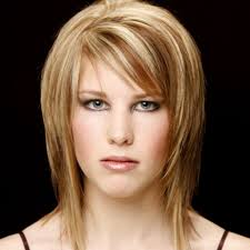short layered medium length hairstyles side swept bangs shoulder length hair women medium haircut