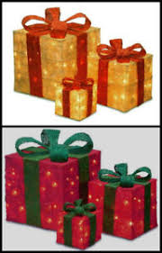 3x led light up glitter presents gift boxes parcel