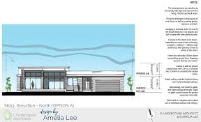 a new home design for a coastal home for two design by amelia lee option a street elevation presents as a pavilion to the street with a high level roof over the living kitchen and deck areas