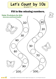 counting by 10 worksheets for kindergarten 1st grade math