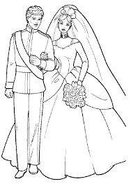 girls coloring pages barbie and ken wedding barbie coloring