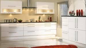 Bar Handles For Kitchen Cabinets White Units Long Handles Glazed Doors U0026 Dark Work Tops Kitchen