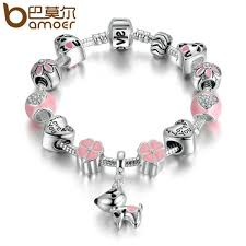 pink heart bracelet images Bamoer new arrival silver color lovely dog pink heart flower jpeg