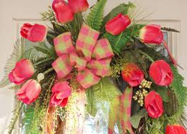Spring Wreaths For Door by Flowers Wreath Tulips Door Forever Spring Design Red Ribbon