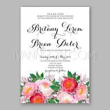 peony wedding invitation watercolor floral vector unique vector
