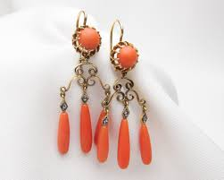 chandelier earrings coral diamond chandelier earrings coral diamond