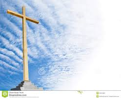 christian cross with sky background religion template or frame