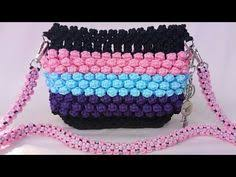 cara membuat tas tali kur sisik ikan macrame stationary make up accessory pouch macrame art macrame