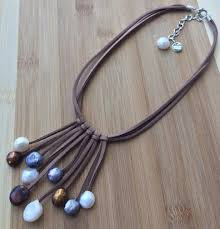leather necklace with beads images The fountain designer handmade natural pearls on leather jpg