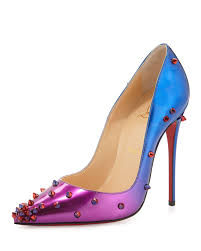 christian louboutin degraspike patent red sole pump in blue lyst